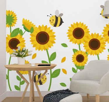 El fotomural para niños tiene una ilustración de varios grandes girasoles con abejas, ideal para que decores de forma tierna un dormitorio infantil.
