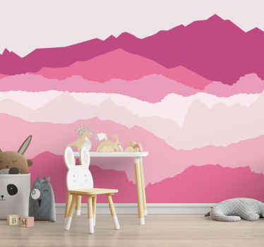 Soothing pink landscape wall photomural  of mountains for children's bedroom.The scenery photo mural,  is the cute and the fun  for all the little ones.