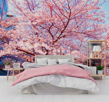 Traiga esa sensación de paz de estar en un paisaje de hermosos árboles a su hogar en este fotomural flores rosadas. ¡Entregamos a domicilio!