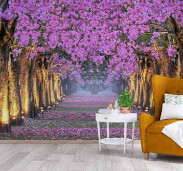 Nature wallpaper photo illuminated Flowery corridor. Incredible snapshot of a purple flowery corridor.
