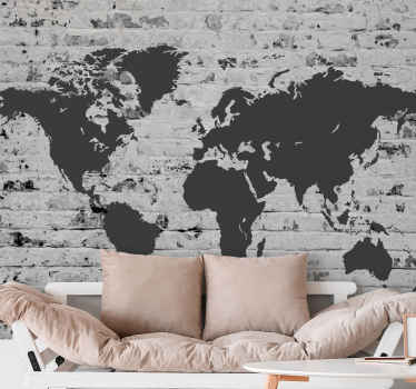 Get this amazing world map wall mural now into your room! Everybody will be jealous of this amazing brick wall mural! Available in 50 colours.