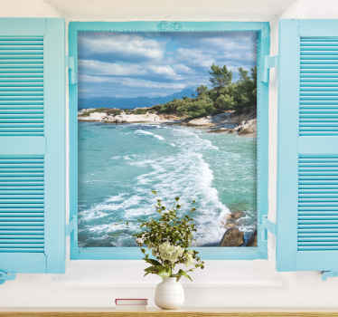 With such a window with sea view under the sea mural, which you can buy online, it is easy to get away from home in the heart of the beach. Buy it!