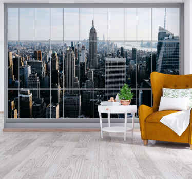 A beautiful photo mural of New York  with countless lights and buildings. .The New York wall stickers will modernize every space of your home.
