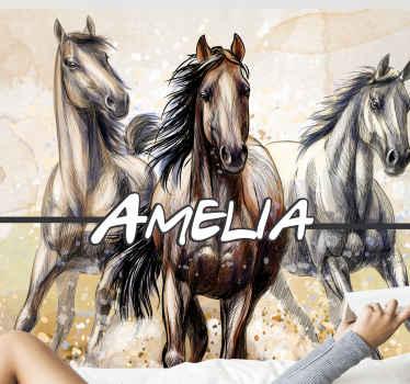 настенная фотография с тремя иллюстрированными лошадьми на конную тематику, напечатанная с красивым художественным изображением лошадей. проверенное качество.