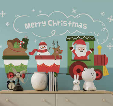 Children Christmas wall mural design illustrating Santa Claus transporting Christmas presents, reindeer and snow man on a train.