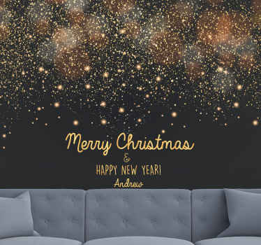A black and gold sparkles Christmas wall mural to decorate the home and other places for Christmas.  Perfect for bedroom, living room and other places.