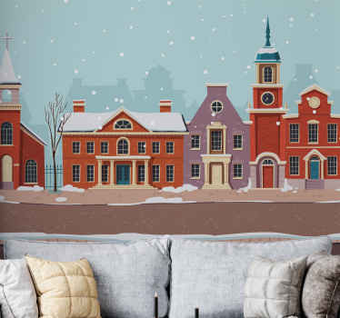 Bring the joy and aura of Christmas on your space with this urban street winter landscape winter wonderland wall mural. .
