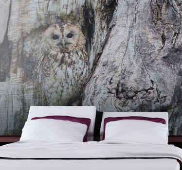 Est mural de animales es una solución perfecta si necesita una reparación rápida y efectiva para sus paredes. Diseño gris con búho camuflado.