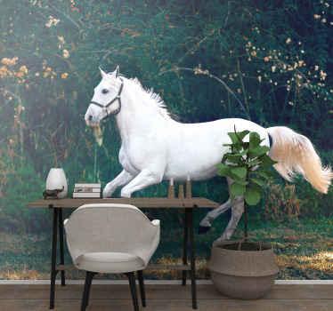 Disfruta de este atractivo y colorido mural de animales de caballos corriendo sobre la hierba ¡Perfecto para decorar tu dormitorio! ¡Envío gratis!