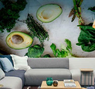 Avokado ve baharatların çok güzel mutfak fotoğrafı duvar kağıdı. şimdi satın al ve bize söylediğin yere gönder! çıkarıldıktan sonra sıfır kalıntı.