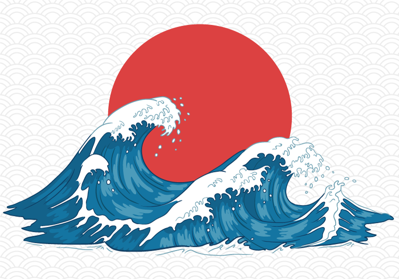 TenStickers. Japonská vlna vinobraní mořská voda nástěnná tapeta. Užijte si přírodu moře s touto nástěnnou tapetou! Koupit online! Pouhé jedno kliknutí! Budete to milovat! Extrémně trvanlivý materiál.