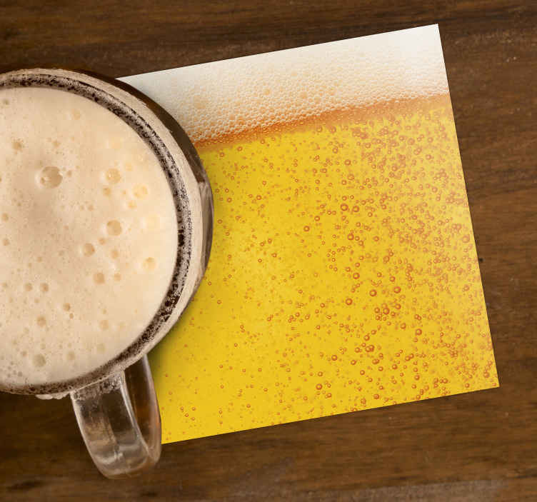 TenStickers. μπύρα υφή τρενάκι. αυτό το σουβέρ μπύρας είναι ιδανικό για όσους αγαπούν την μπύρα. χρησιμοποιήστε το στο σπίτι ή παμπ και μπαρ. διάφορα διαθέσιμα μεγέθη.