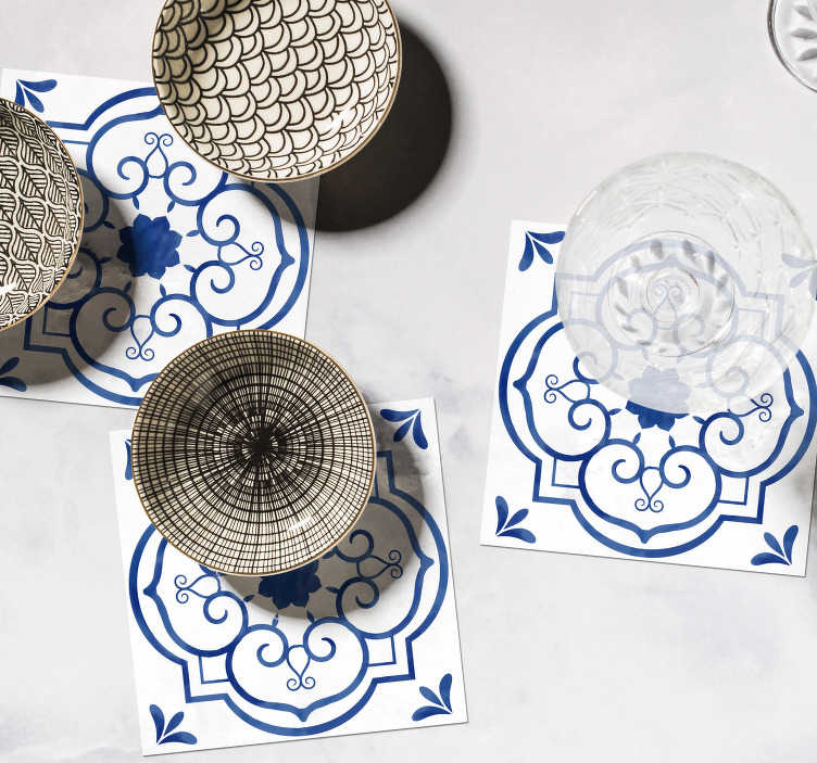 TenStickers. Classic blue tile print coaster. These classic blue tile print coasters are classic, yet trendy. Purchase them now to how off your tasteful decoration style.