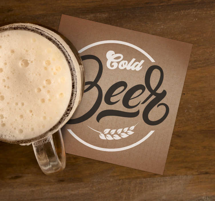 "TenStickers. Beige cold beer coaster. You will love this cold beer coaster in your home! Classy colours and the scripture ""Cold Beer"" ensure it fits with any decor."