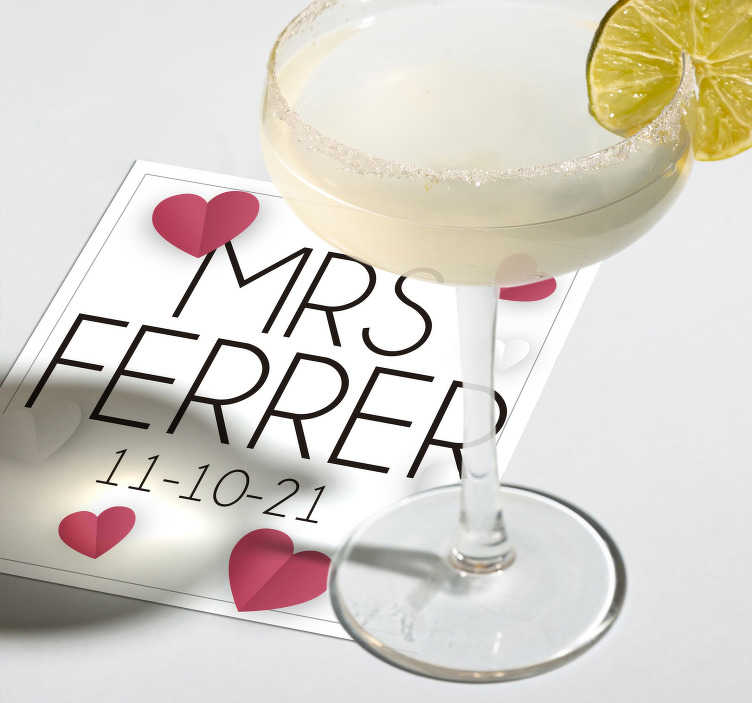 TenStickers. Custom wedding coaster with pink hearts. This personalized wedding coaster adds a personal touch to all your wedding decoration. Design your own coaster and leave your guests impressed.