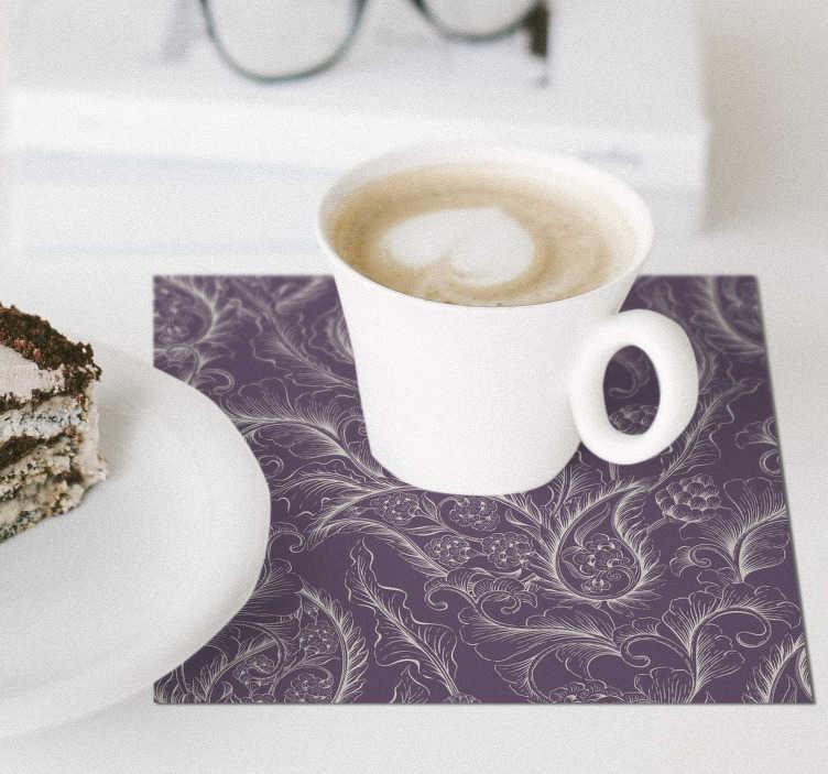 TenStickers. 微妙的老式花卉佩斯利杯垫. 这款复古花卉佩斯利杯垫可增强您的装饰美感!现在以四,六或八套的价格购买。