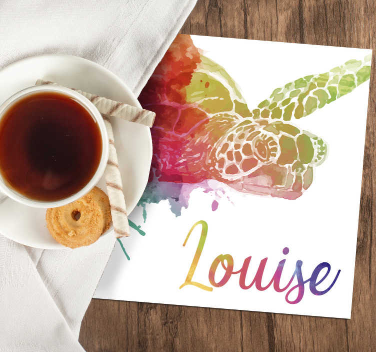 TenStickers. Colourful Personalized Turtle Coaster. This is a personalized animal coaster to impress your family! Does your child love turtles? Add your kid's name to this colourful turtle coaster.