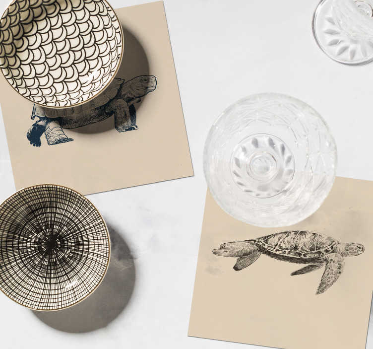 TenStickers. 龟图纸米色背景杯垫套. 看看这些酷炫的乌龟画动物杯垫!这些引人入胜的动物设计精美,可以完美装饰您的房屋!