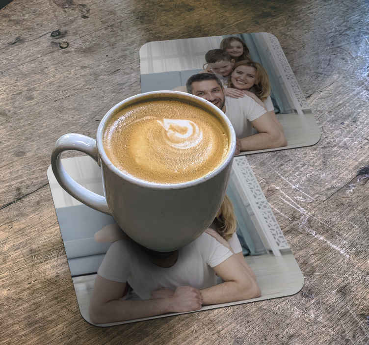 TenStickers. Personalised family photo drink coaster. Family photo custom coaster featuring whatever image you decide to upload of you and your family. +10,000 satisfied customers. High quality.