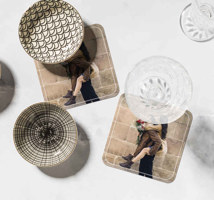 TenStickers. Couple photo custom coaster. Couple custom coasters which feature whatever image you decide to upload of you and your loved one. High quality materials.