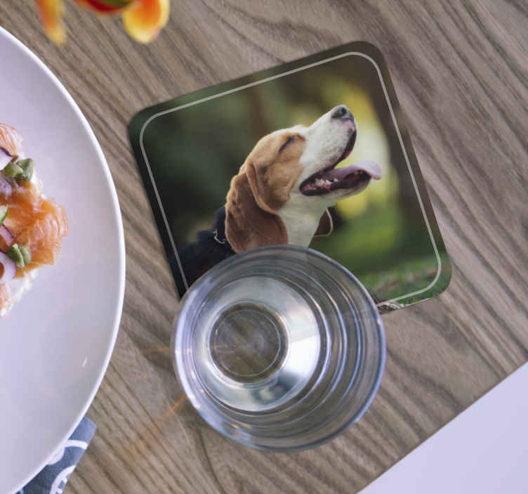 TenStickers. Personalised Dog Photo beer mats. Personalised dog coaster which features a personalised image of your furry friend! High quality materials used. Worldwide delivery.