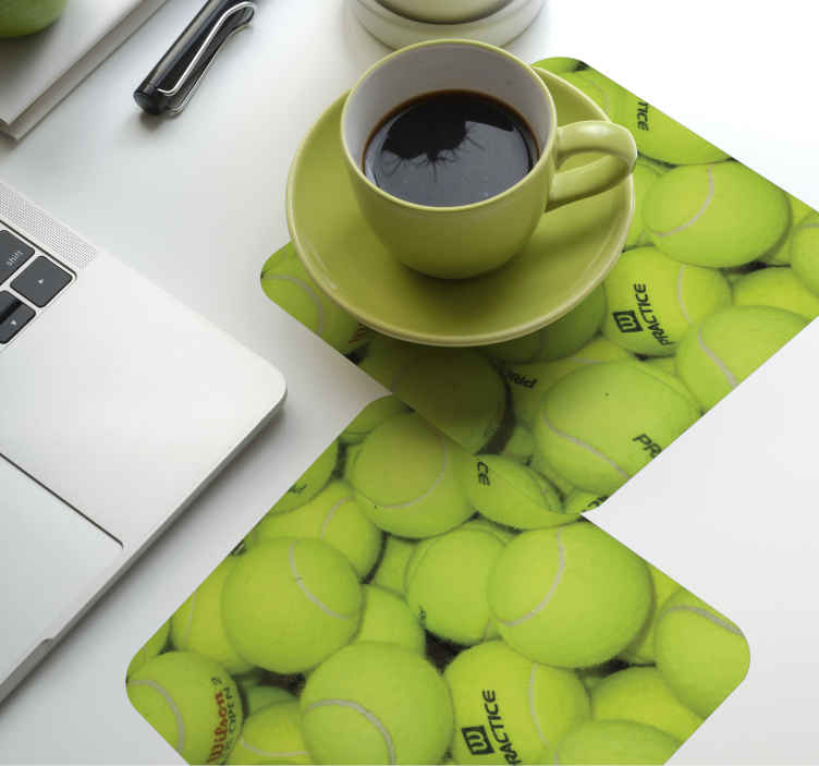 TenStickers. Tennis ball drink coaster. Tennis ball coaster  which features a wonderful design of a pile of tennis balls all on top of each other. Made form high quality material.