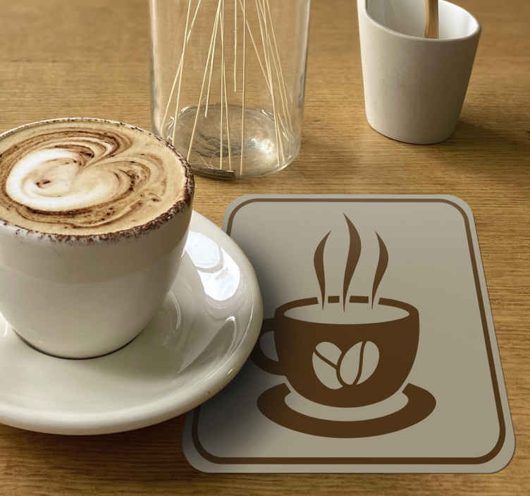 TenStickers. Coffee Cup with Beans retro coasters. Coffee coaster set which features a stunning retro image of a steaming cup of coffee with coffee beans on the front. +10,000 satisfied customers.