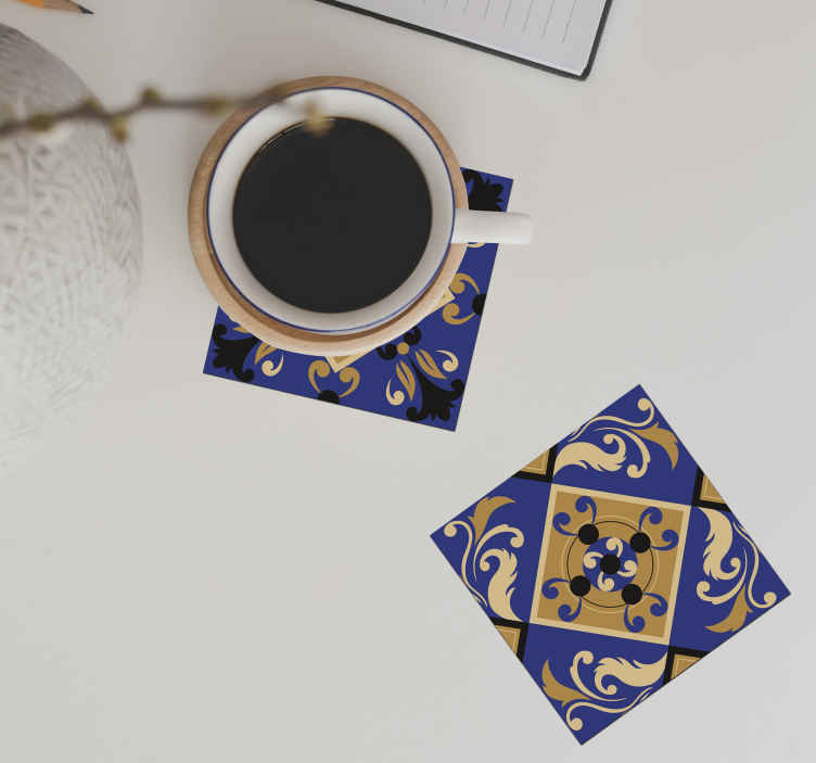 TenStickers. Ornamental tile coasters blue. Portuguese tile coasters made out of vinyl will be a long-lasting decoration that you will be proud of. Sign up to get a 10% discount!