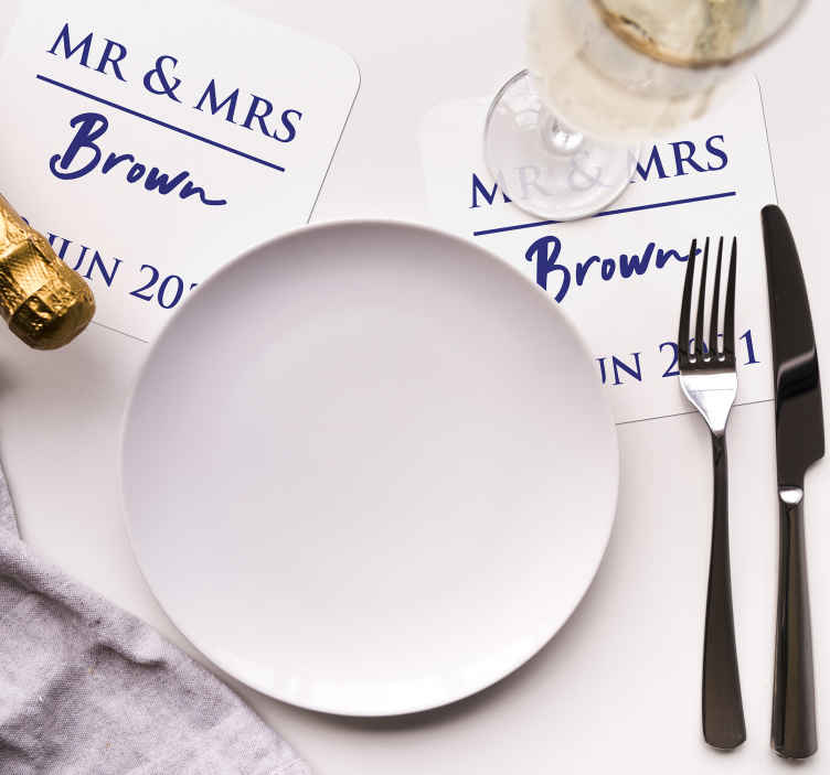 TenStickers. Celebration Wedding  coaster favors. Wedding coaster which features Mr and Mrs and your personalised name and date underneath. Sign up for 10% off. High quality.