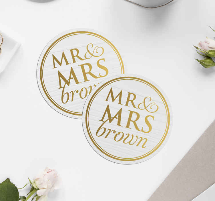 TenStickers. Elegant Mr & Mrs for weddings customisable coaster favors. Beautiful personalised wedding coasters that will make your big day extremely special. Sign up yo our website for 10% off your first order.
