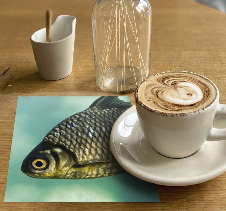 TenStickers. Carp head fish coaster. An awesome fish coaster that has an accurate picture of a carp fish on a blue-green background. Easy to keep clean. Waterproof.