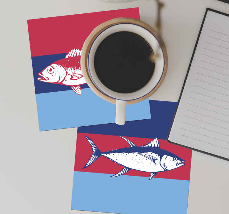 TenStickers. Hand drawn colorful fish coaster. An awesome little piece of decoration this colorful fish coaster is! It for sure brightens up any room you put it in. Easy to wash.