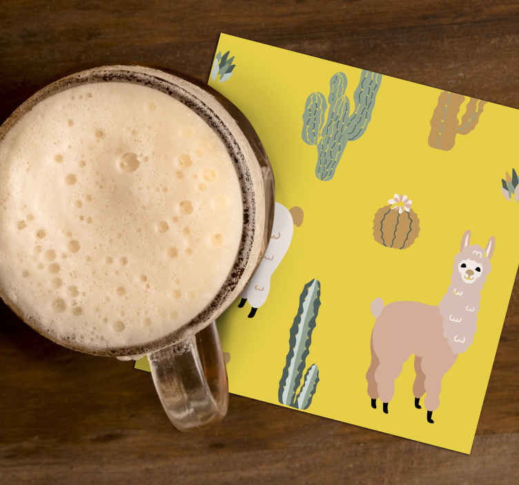 TenStickers. Alpaca and cactus modern drink coaster. Alpaca and cactus modern coaster. A design to impress your friends and guest with illustration of alpaca and cactus depicting  forest life.