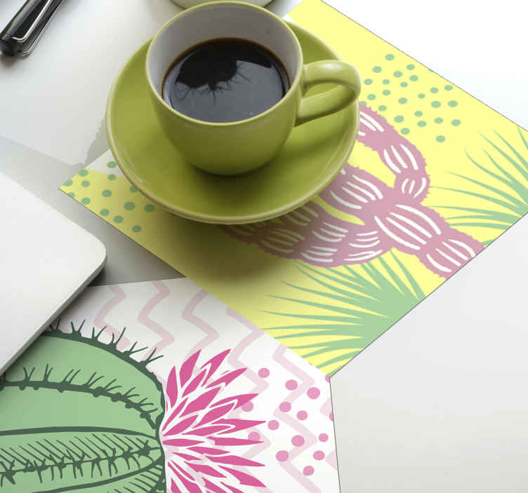 TenStickers. Cactus variety modern drink coaster. Cactus variety modern coaster. This lovely cactus design drink coaster is what you need to place on your drink table space.