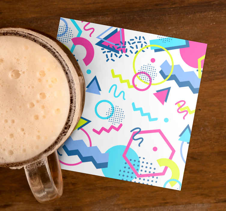 TenStickers. Geometric Memphis style modern drink coaster. An amazing memphis patterns modern coaster design to serve your tea, coffee and beverages. Easy to maintain and available in different pack sets.