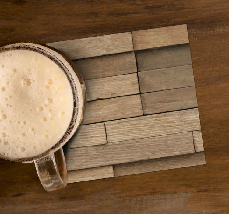TenStickers. Abstract wood drink coaster. You don't want to miss this textured rectangular drink coaster with abstract brick pattern. It is original and made of high quality material.