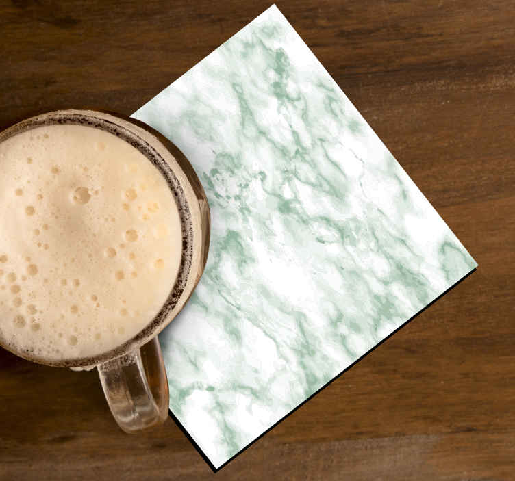 TenStickers. Green marble drink coaster. Green marble texture cup coaster. The design is created with realistic textural look of a green marble surface.  Its made of  best of quality material.
