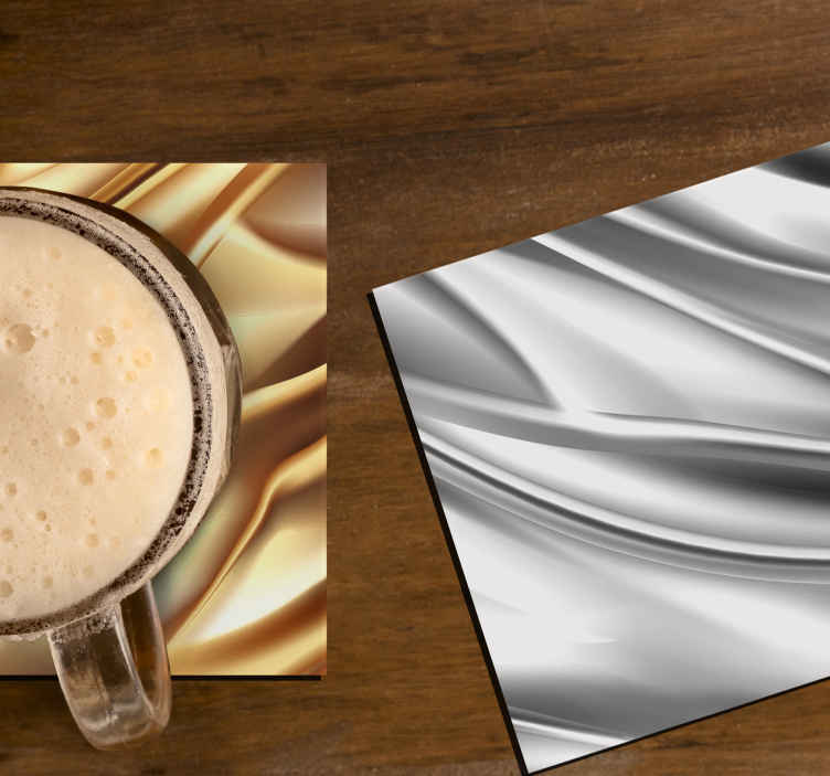 TenStickers. Silver metal effect drink coaster. Drink cup coaster design that you would certainly love. It is designed in a realistic metallic effect appearance. Made of high quality material.