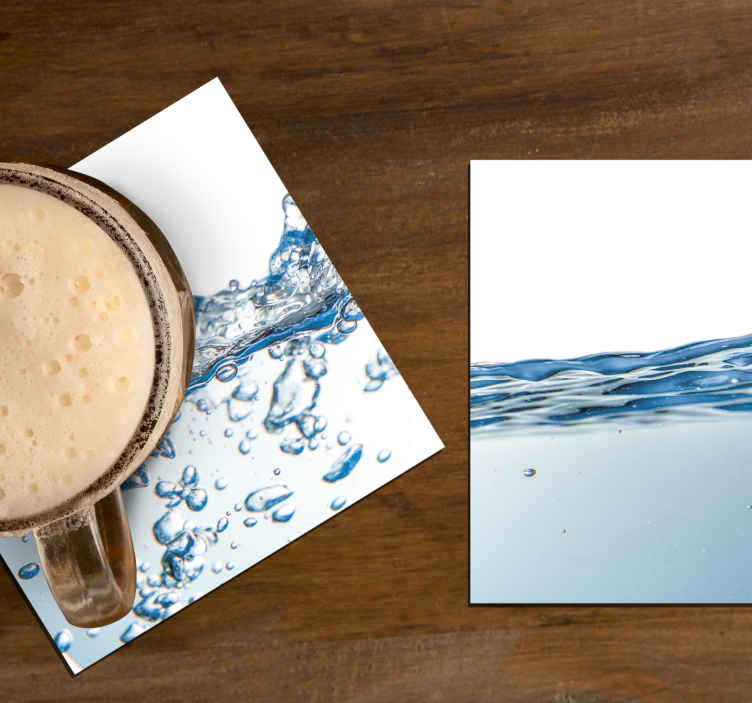 TenStickers. Water effect drink coaster. Water effect drink coaster design to  enjoy your drink time on a table. It is made of best quality material and easy to maintain.