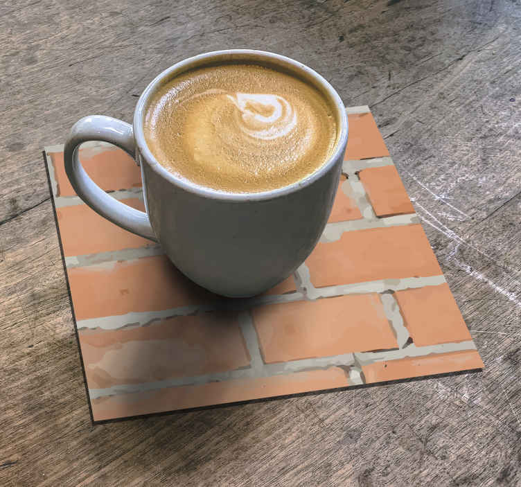 TenStickers. Worn brick pattern drink coaster. Fantastic brick pattern drink coaster made with a worn textural appearance. An amazing design suitable for any drink service.