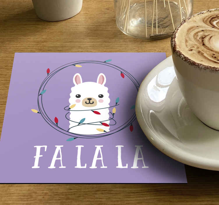 TenStickers. Christmas style alpaca drink coaster. Decorative Christmas drink mat with the design of alpaca and ornamental colorful Christmas light bulbs. The product is available in pack sets.