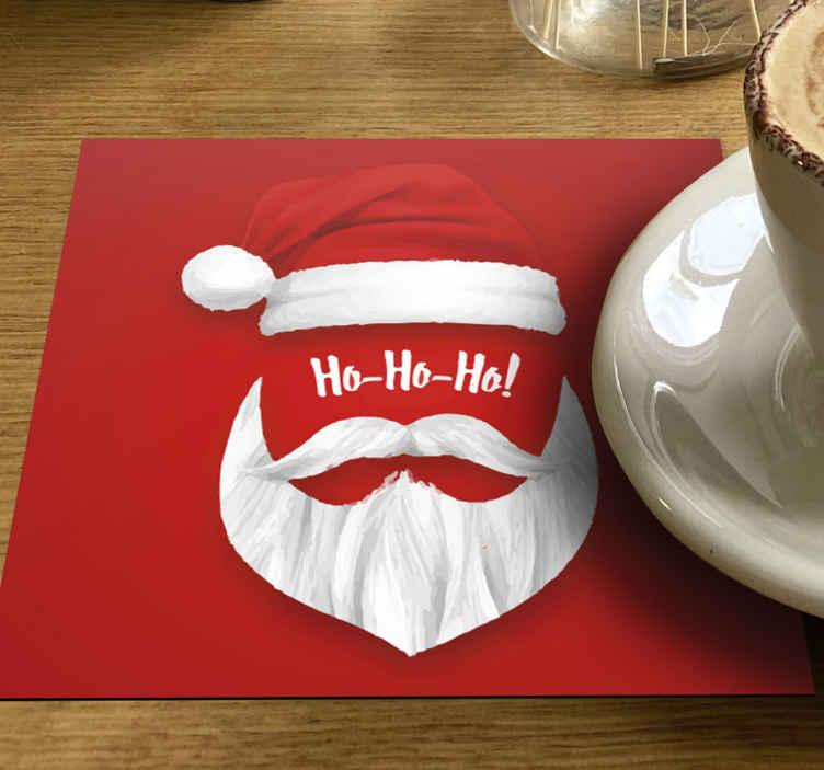 TenStickers. Kerst onderzetters Ho ho ho. Mooie kerst onderzetter met het gezicht van de kerstman. Het product is van goede kwaliteit en gemakkelijk te onderhouden.