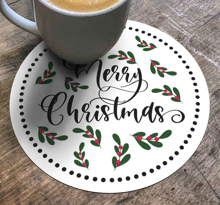 """TenStickers. Sous-verre Joyeux Noël. Un dessous de verre noël pour profiter de la joie de noël avec votre famille. Un sous-verre rond conçu avec des feuilles ornementales colorées avec un texte """"joyeux noël''."""