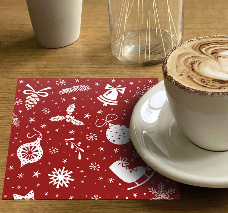 TenStickers. Red Christmas pattern drink coaster. Beautiful patterned drink coaster filled with the design of Christmas elements on red background. The product is easy to maintain.