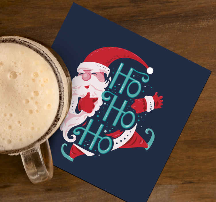 TenStickers. Santa claus drink coaster. Beautiful Christmas drink coaster with the design of Santa claus. The product is made of high quality and it is easy to maintain.