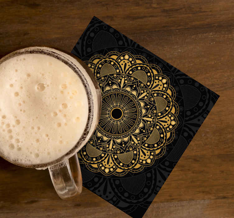 TenStickers. Gold mandala drink coaster. Gold mandala patterned drink coaster made with ornamental flower design on black background. It is made of good quality.
