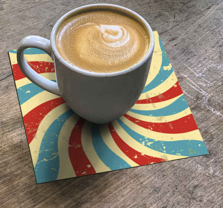 TenStickers. Grunge vintage stripes drink coaster. Grunge vintage stripes drink coaster. This amazing coaster is made with multicolored stripe lines. The product is of high quality and easy to clean.