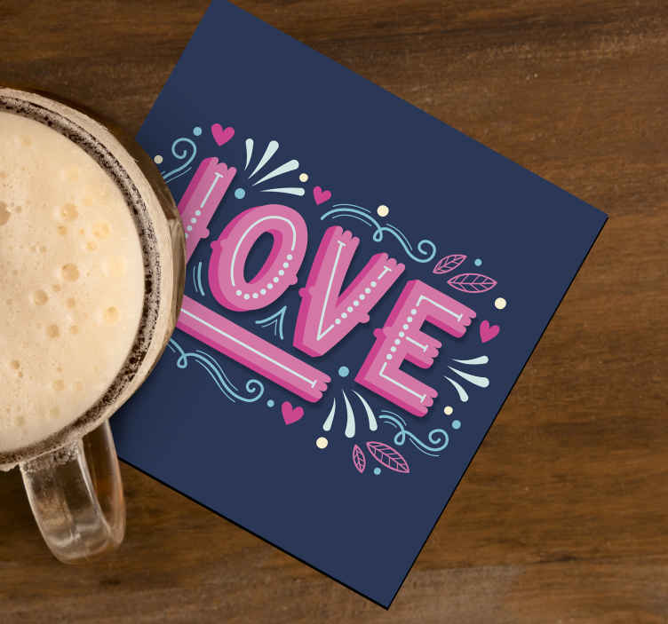 TenStickers. Love in retro style drink coaster. A colorful drink coaster designed with love text. This design would set your table surface apart with an amazing decor touch.