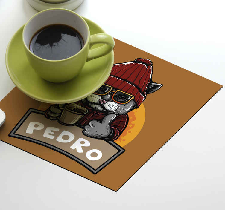 TenStickers. Retro cat with name personalised beer mats. Custom drink coaster with a funny cat design chilling with ta cup of coffee. It is customisable in your own name. The product is made of good quality.