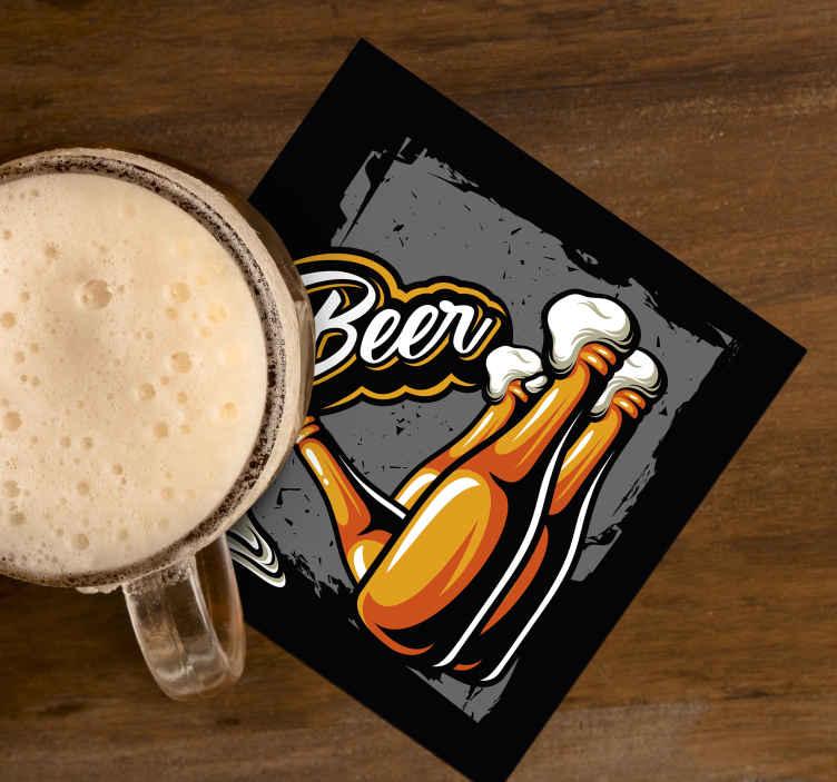 TenStickers. Sottobicchiere personalizzato birra Bottiglia di birra. Sottobicchiere con bottiglia di birra vintage per servire birre e bevande a casa e in ristoranti e bar. Il prodotto è realizzato con materiale di alta qualità.